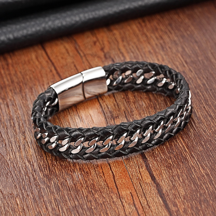 XANI Stainless Steel Genuine Leather Bracelets for women Charm Bracelets for men Black Braid Bracelets & Bangles Men Jewelry