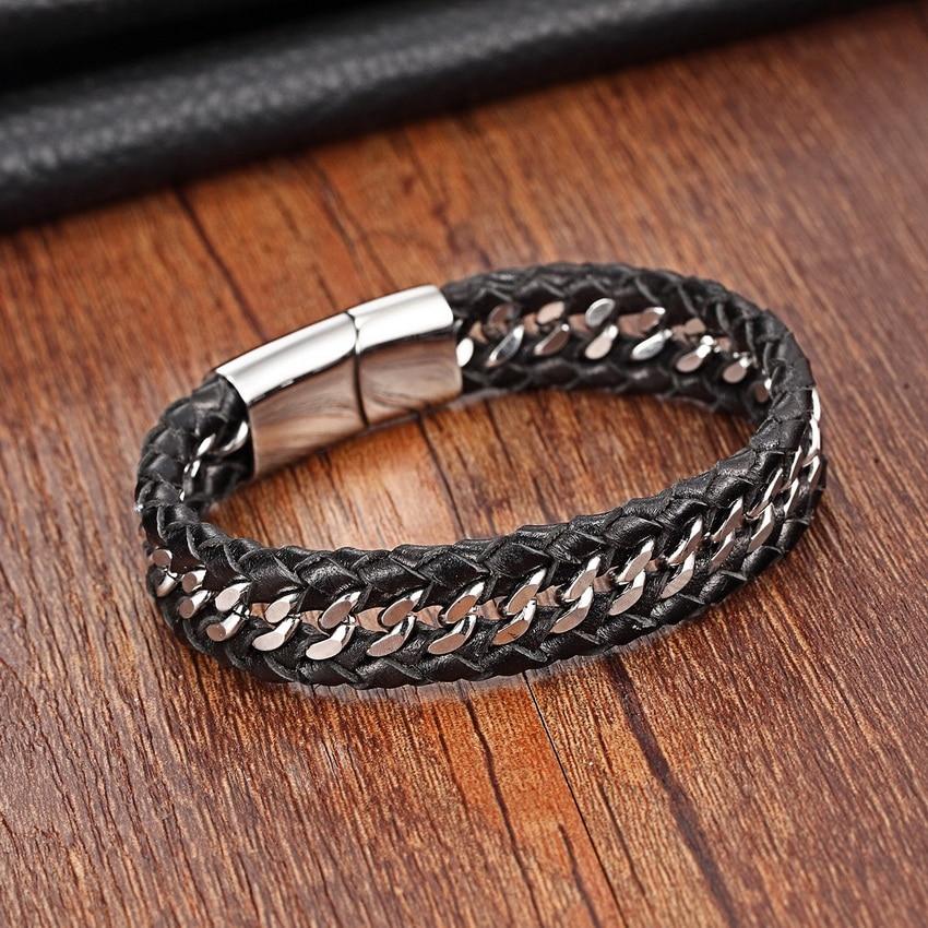 XANI Stainless Steel Genuine Leather Bracelets for women Charm Bracelets for men Black Braid Bracelets & Bangles Men Jewelry