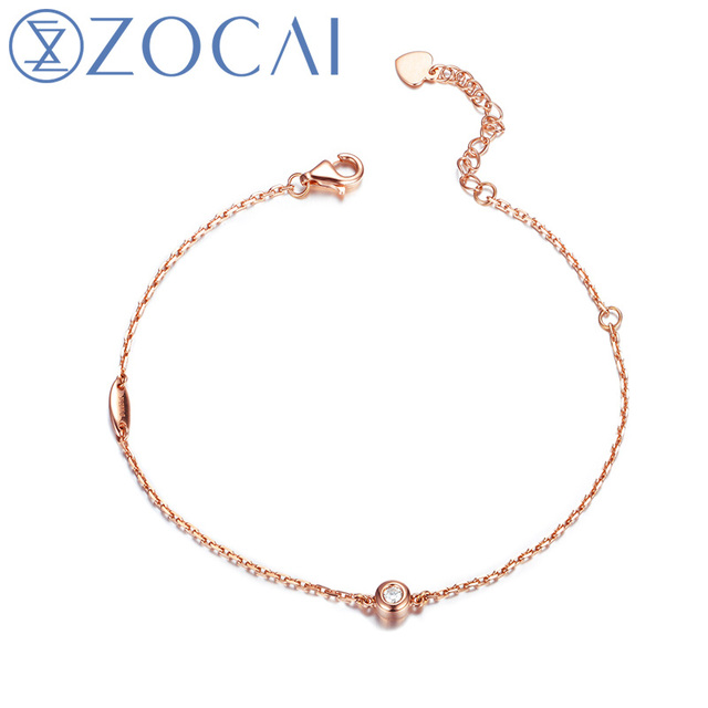 ZOCAI Real Natural 0.05 CT Diamond Certified I-J / SI in 18K White / Rose / Yellow Gold (AU750) Bracelet S00635