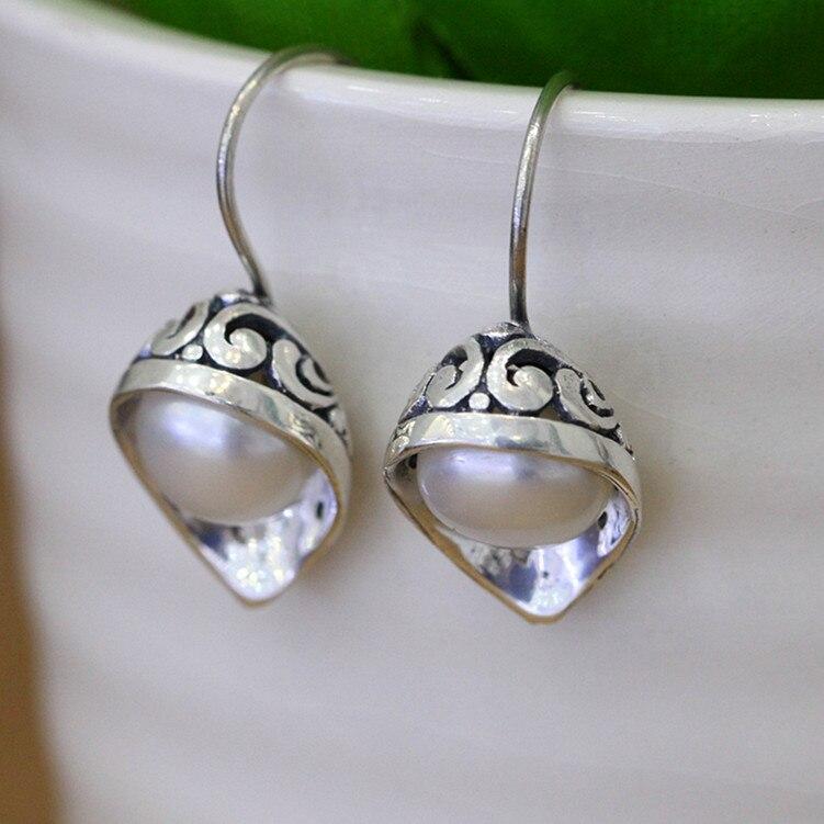 Gothique mode pierre rouge et perle naturelle argent boucles d'oreilles à la main pour les femmes 925 Sterling boucles d'oreilles bijoux fins
