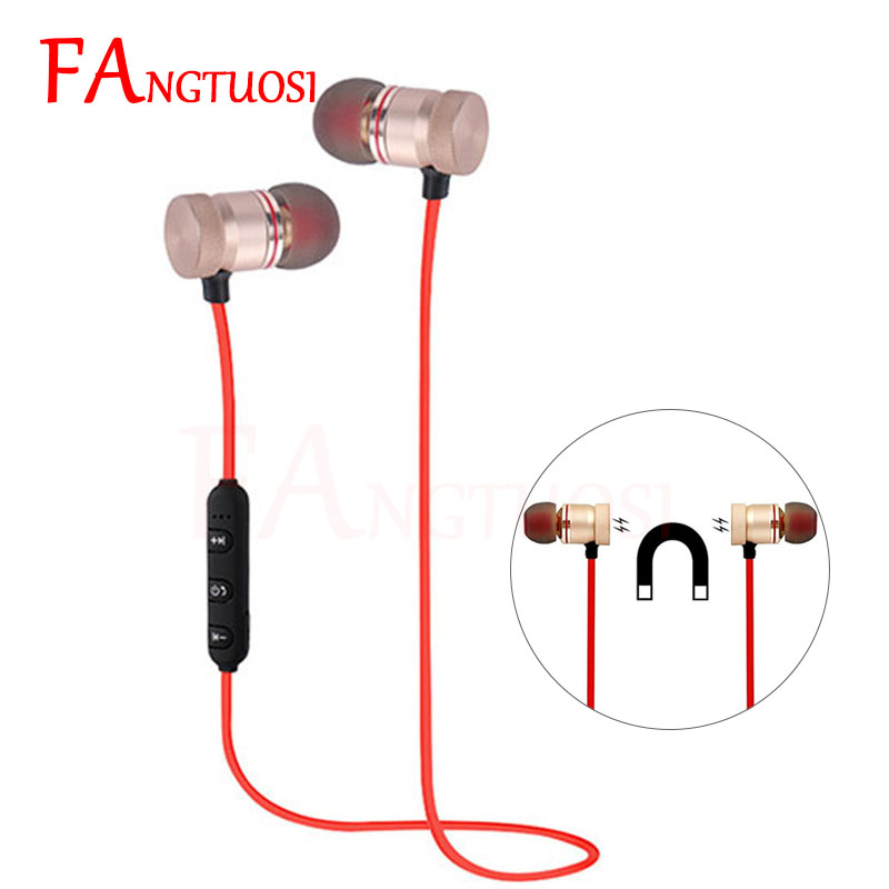 FANGTUOSI Metal Sports Wireless Earphone Bluetooth Headphones Magnetic Earpiece Stereo For iPhone 7 Handsfree Headset with Mic wireless headphone bluetooth earphone metal sports sweatproof earpiece magnetic headset stereo for xiaomi iphone auriculare
