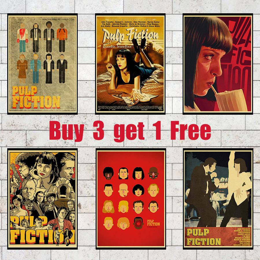 Pulp Fiction Poster Movie Poster Wall Decorative Stickers For Livingroom Bedroom Printed Modern Painting Claer Picture