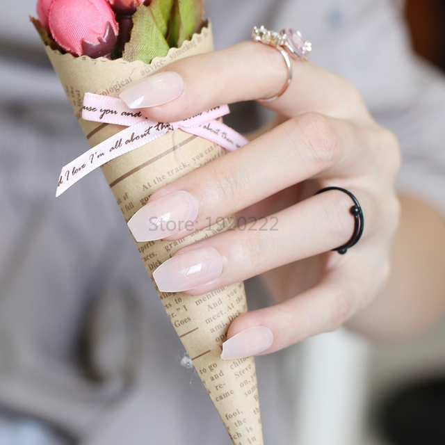 24pcs The New candy color coffin shape nails, popular sales of the ...