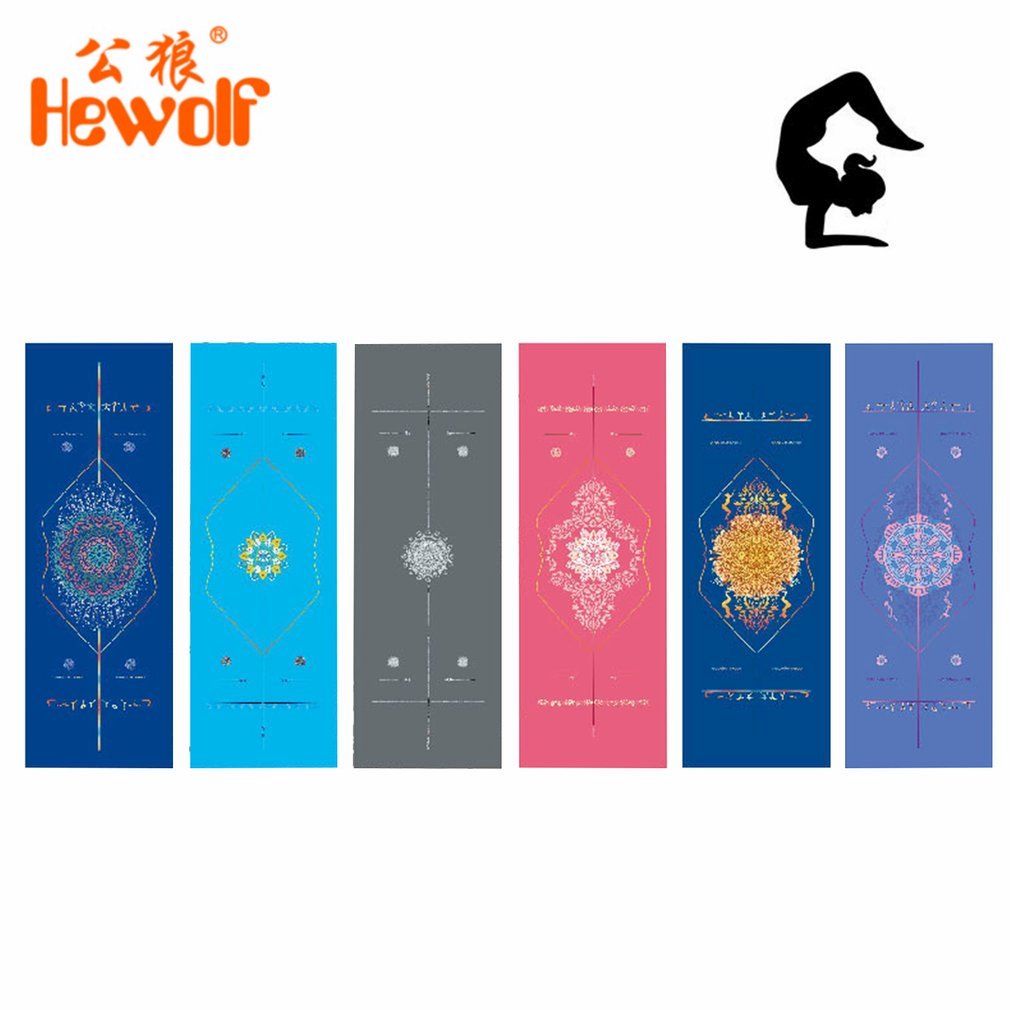 Hewolf Yoga Mat Double-sided Unique Print Position Line Sports Fitness Towels Non Slip Microfiber Yoga Floor Drape 183x63cm