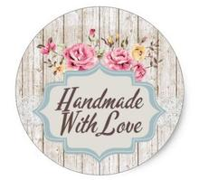 1.5inch Made With Love Shabby Chic Roses Product Packaging Classic Round Sticker
