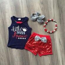 Estate del bambino vestiti delle ragazze outfit set maglia di cotone navy little miss America corona paillettes shorts boutique partita serbatoio accessori
