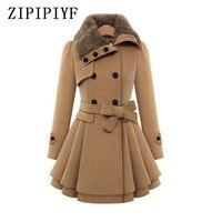 ZIPIPIYF Winter Coat Women Trench Coat Brand Black Woolen Coat Double Breasted Long Sleeve Belt Slim