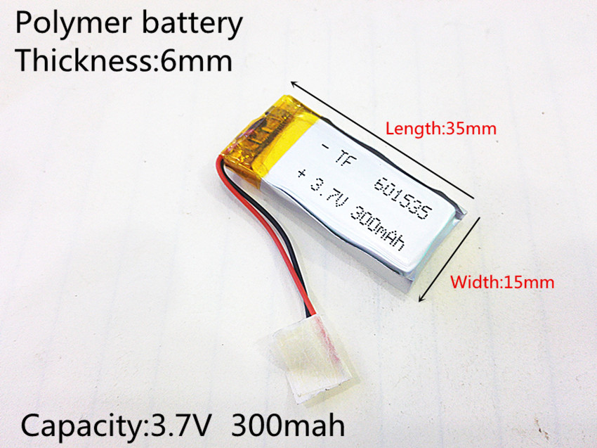 601535 Rechargeable Lithium Li ion Polymer 3 7V 300mAh Battery For Bluetooth Headset Mouse Bracelet Wrist