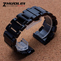 New arrival High-quality 30mm black ceramic with butterfly buckle watchband for men diesel bracelet polished waterproof straps