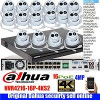 mutil language dahua 16ch POE Camera Kit NVR4216 16p 4ks2 4mp IP Camera IPC HDW4433C A audio IP camera Video Surveillance