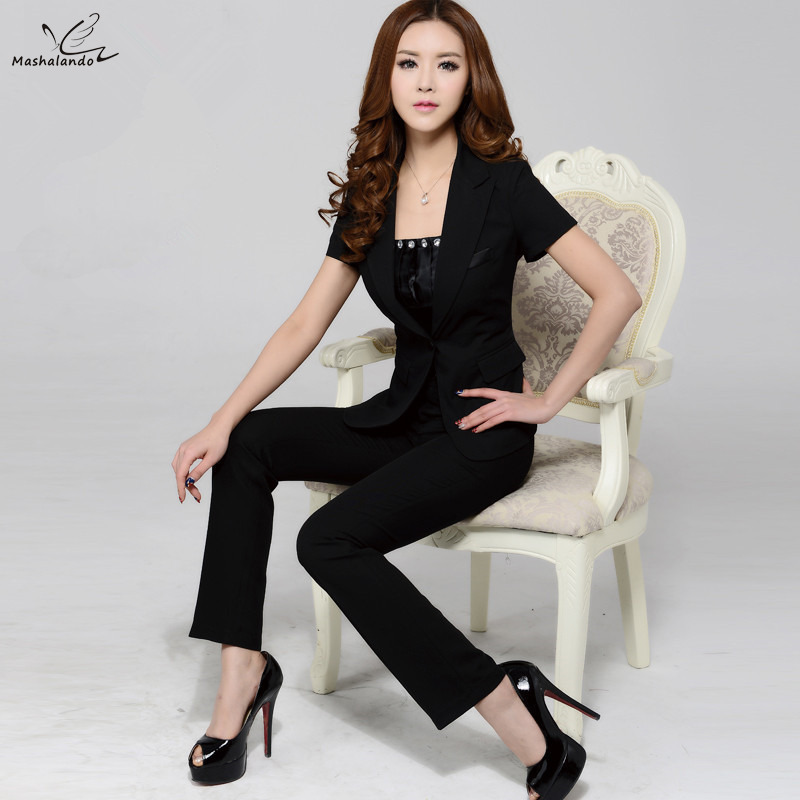 2016 New Fashion Womenu0026#39;s Business Pant Suits Formal Office Work Plus Size Slim Short Sleeve ...