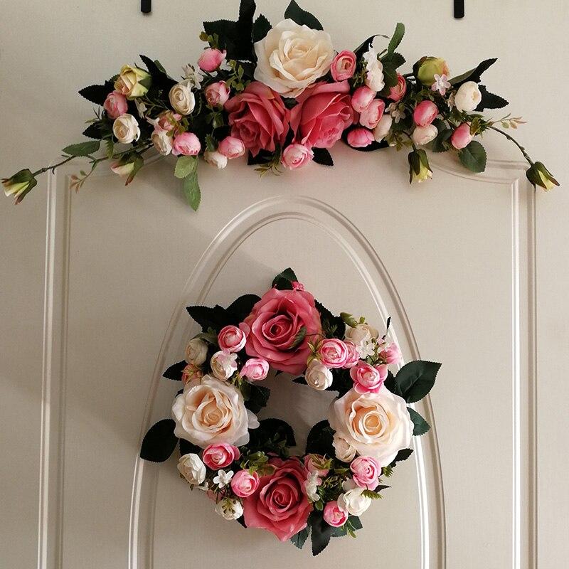 Wedding Flower Garlands: Door Trim Rose Wreath Ornaments Simulation FLOWER Wedding