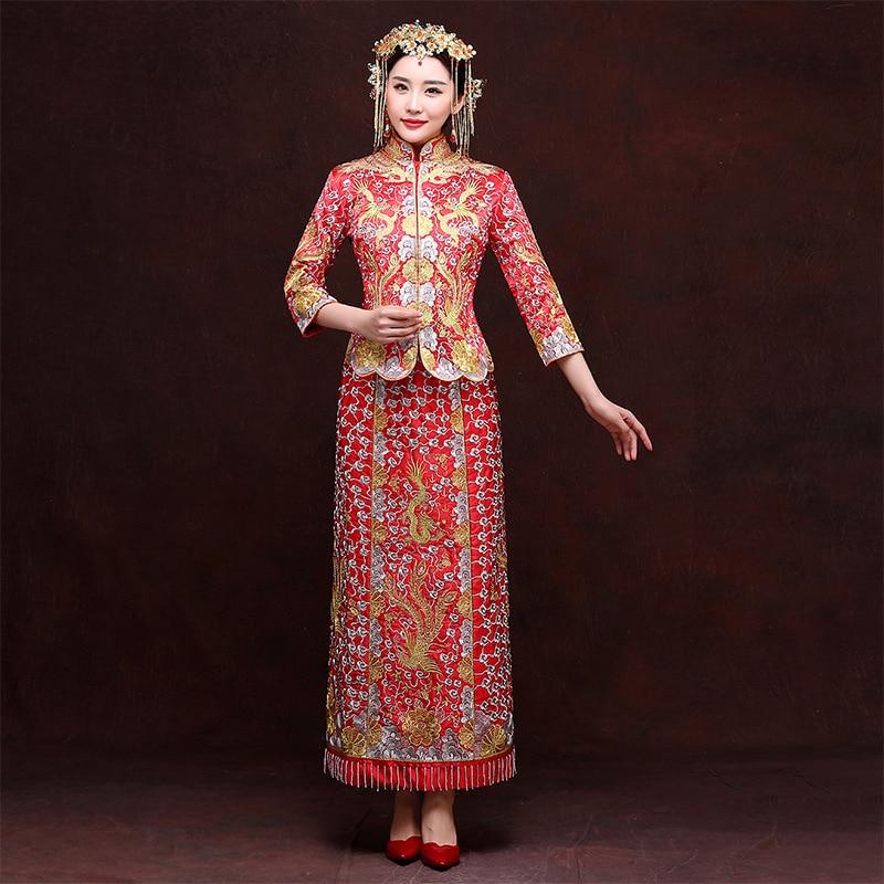Bordado rojo Fénix Largo Cheongsam Novia Casarse Boda Vintage Vestido Chino Tradicional Mujeres Dos piezas Qipao Robe Chinoise