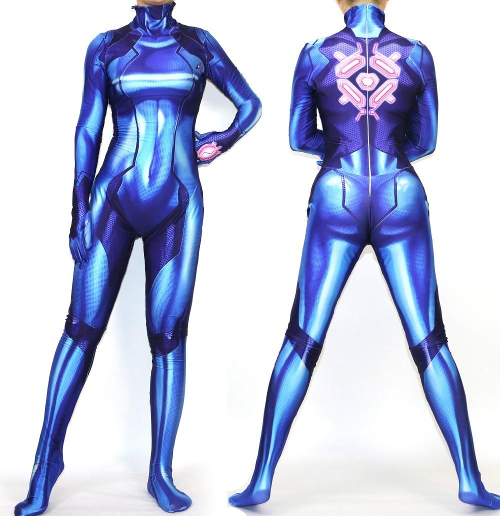 Women Girls Samus Zero Aran Cosplay Costume 3d Printing Spandex