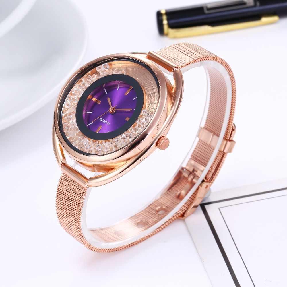 Reloj Mujer יוקרה מותג נשים שעון גברת פלדת רשת עלה זהב צמיד שעון נשים אופנה חול טובעני קוורץ שעון נשי שעון