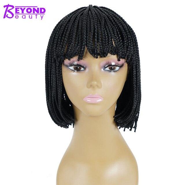 12inch 합성 가발 짧은 꼰 상자 끈으로 묶은 가발 여성을위한 bangs 자연 블랙 pixie braids 가발 내열성 섬유