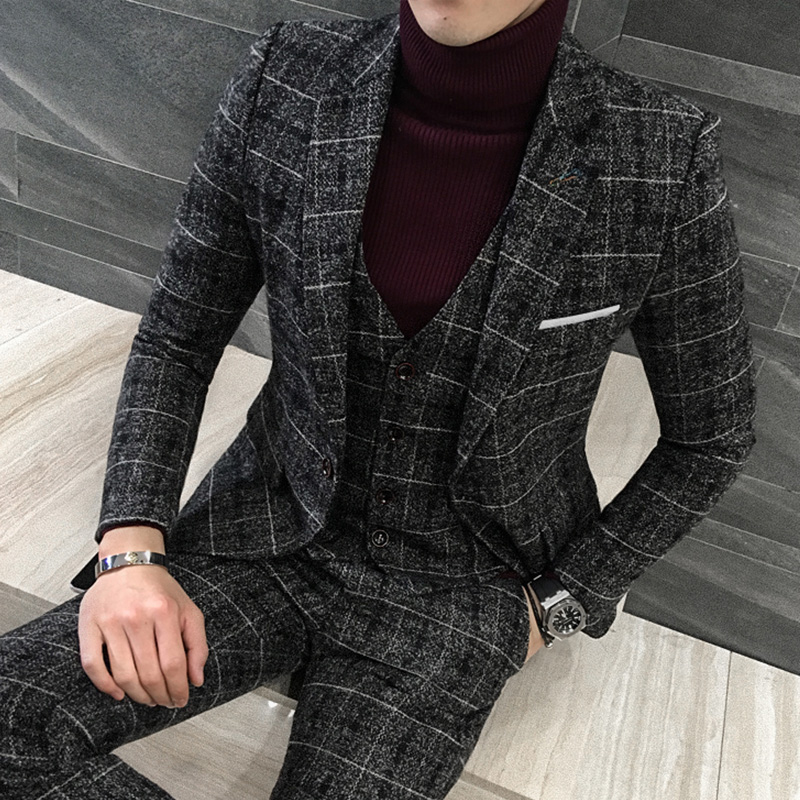 3 Piece Tweed Suit Men Plaid Blazer S M L 4XL 5XL Khaki Grey Blue Black Groom Wedding Dress Suits Costume Homme Ternos Slim 2018