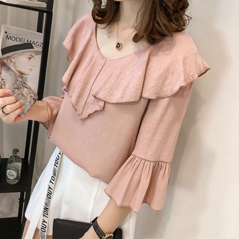 2018 Half Sleeve Summer Blouse Elegant Ruffles Pink Blouse Women Flare Sleeve Tops Casual Loose Plus Size 4XL Femme Blusas 7472