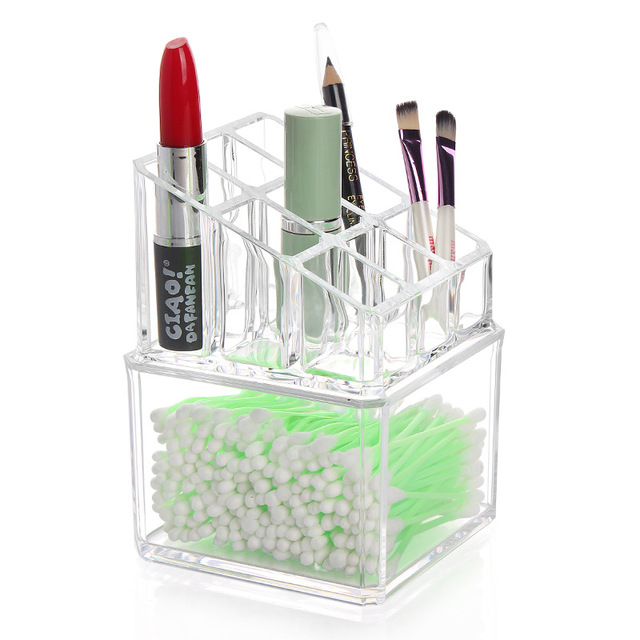 Crystal Transparent Jewelry Rack Double-Layer Multi-Function Creative Storage Box Nail Polish Lipstick Frame Cotton Swab Box DA