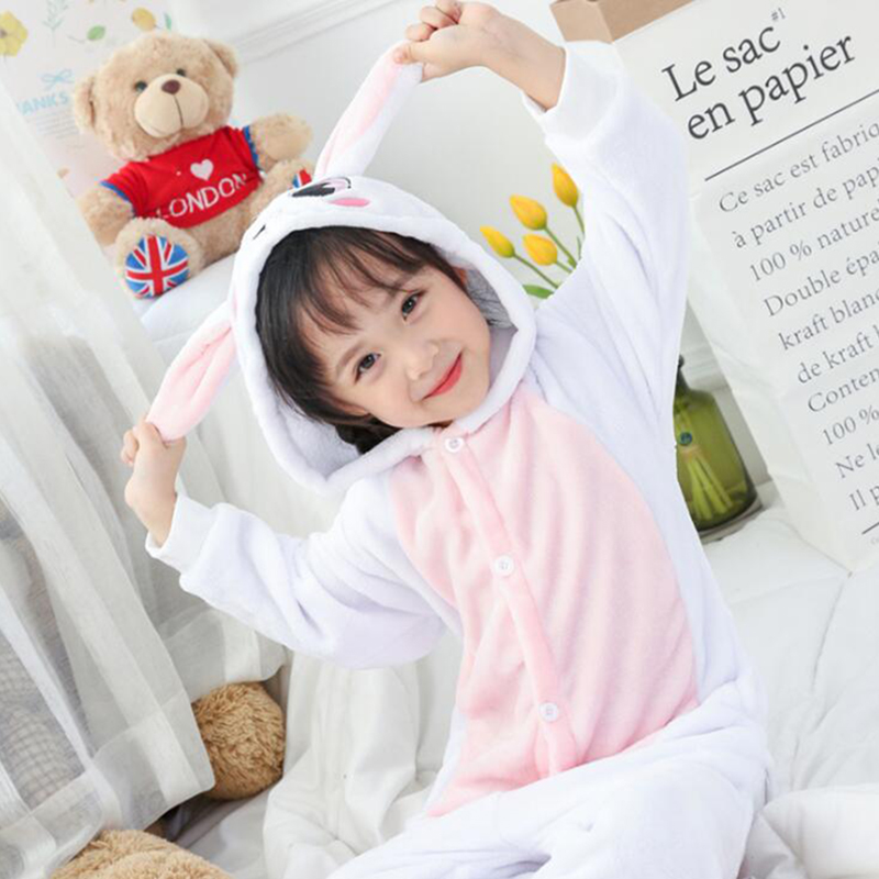 Kid Pink Rabbit Cosplay Kigurumi Onesies Child Cartoon Winter Anime Jumpsuit Costume For Girl Boy Animal Sleepwear Pajamas