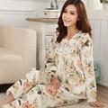 Chegada nova Mulheres Pijama Pastoral Floral Lace Pijamas Pijama Tecido de Pijama De Algodão Em Torno Do Pescoço Manga Completo Frete Grátis 9602