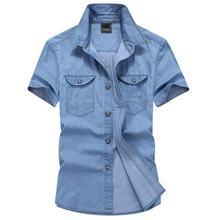 Мужская джинсовая рубашка повседневная хлопковая с короткими