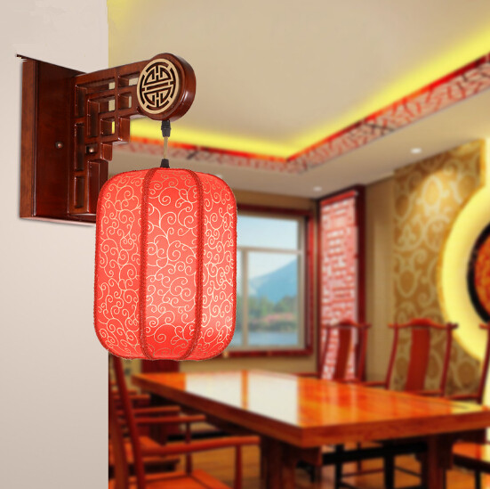 Chinese style classical festive red lantern wall lamps Quaint rural wood carved lamp for parlor&porch&stairs&pavilion&cafe MF015