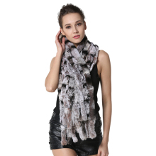 IANLAN Fashion Striped Long Scarves for Women Winter Casual Shawl Scarf Ladies Real Rex Rabbit Fur Wraps Stoles IL00039