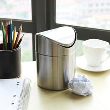 цена на 1.5 L Stainless Steel Mini Trash Bin Car DustBin Swing Lid Kitchen Worktop Desktop Small Waste Rubbish Trash Can