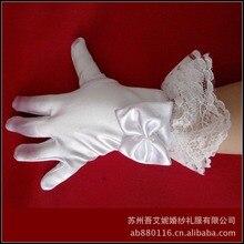 Белые перчатки с кружевом и бантом детские перчатки для свадьбы цветочный наручные Длина палец дети свадебные перчатки аксессуары вэу-де-noiva LT018