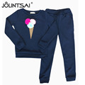 New Fashion 2 Piece Set 2017 Ice Cream Printed Pure Color Tracksuits Spring/Autumn Hoodies + Pants Suits Female Sporting Suits