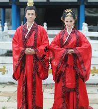 Red Traditional Wedding Hanfu Costumes for Lover's Men and Women's Costume Sets