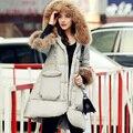 Grande Natural Real Raccon Fur 2016 de Moda de Nova Mulheres Jaqueta de Inverno Para Baixo Parkas Casaco Engrossar Quente Jaqueta Pato Branco Para Baixo