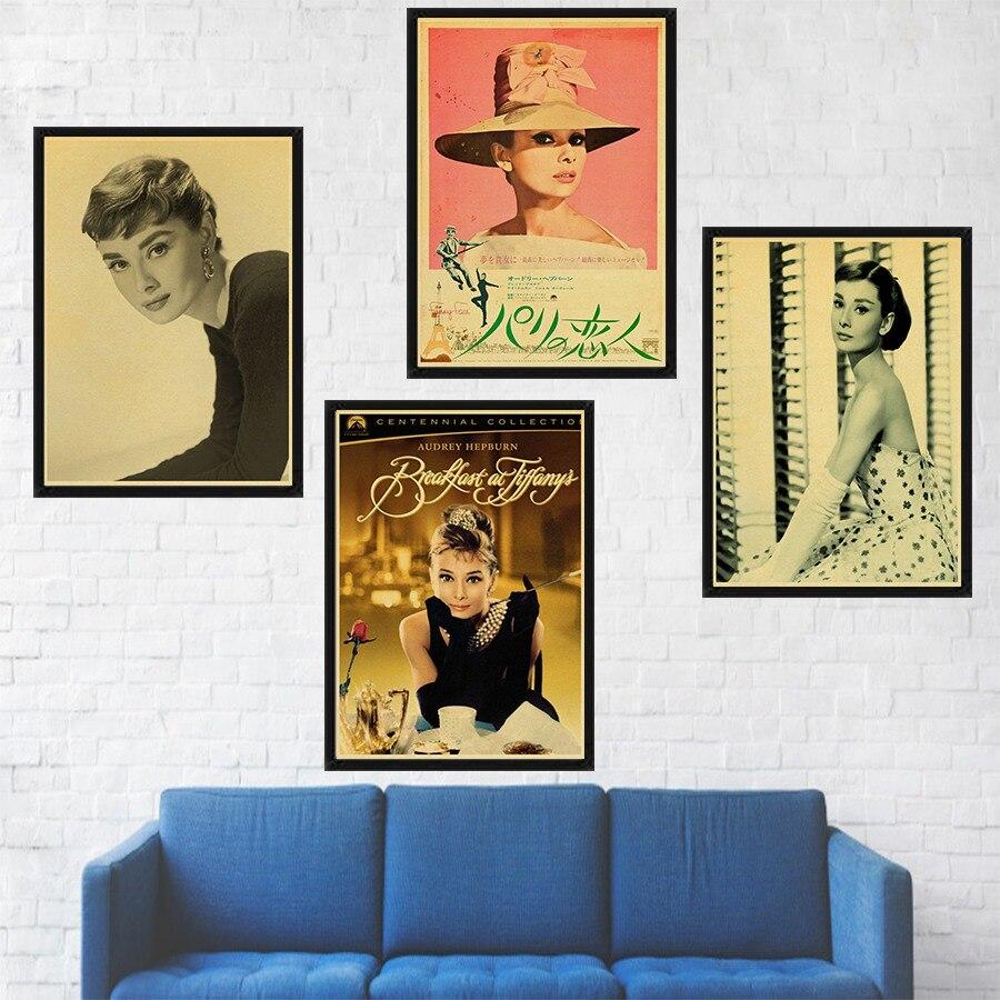 Audrey Hepburn Wall Art Poster Brown Kraft Paper Print