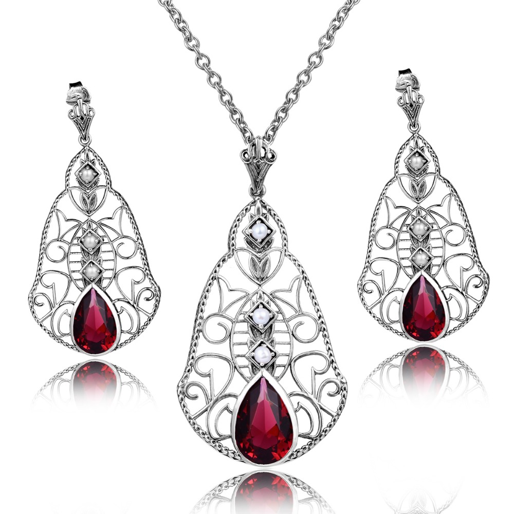 Fashion Three Natural font b Pearl b font Jewelry Set 925 Sterling Silver font b Earrings