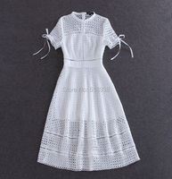 New 2015 summer style brand fashion bohemian women white hollow out lace dress midi mid calf elegant short sleeve bow dresses