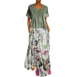 Damska na co dzień w stylu Vintage, lato suknie drukowania Patchwork O-Neck dwa kawałki Plus rozmiar kieszenie Maxi lniana Sukienka Sukienka #7 3