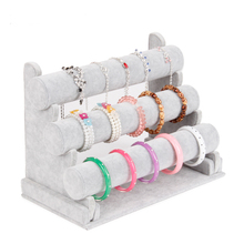 Wholesale High Quality Gray Ice Velvet Bangle Watch Bracelet Display Stand Holder T-Bar 3 Tiers