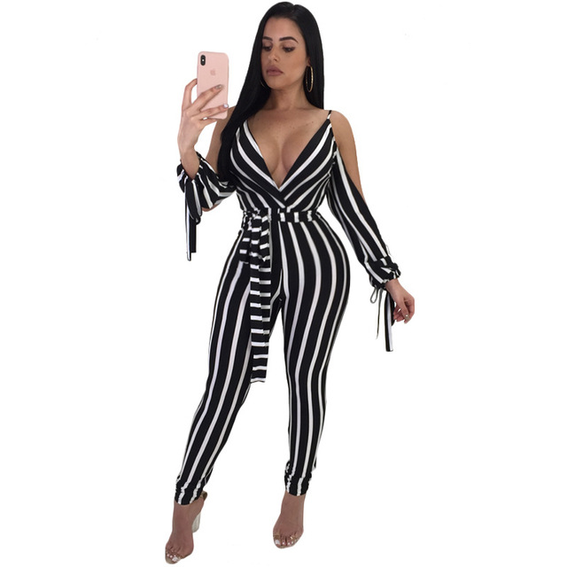d5750c115f7 Black White Vertical Striped Sexy Skinny Jumpsuit Women Off Shoulder Full Sleeve  Romper V Neck Bow Sash Backless Catsuits