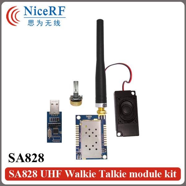 2 Sets / partij SA828 1 W 30dBm All-in-One VHF 134-174 MHz walky talky Module Met USB Bridge Board, antenne, Speaker, roterende Schakelaar