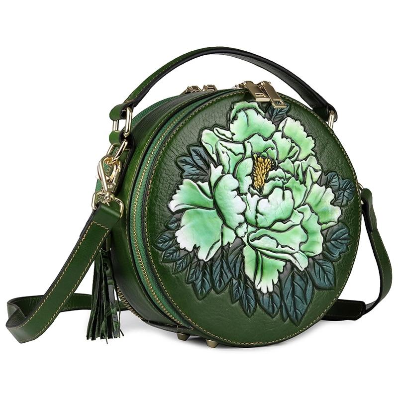 Senhora circular saco genuína flor de couro festa à noite sacos de mão mulher de negócios de moda casual ombro do vintage pequeno saco rodada - 6