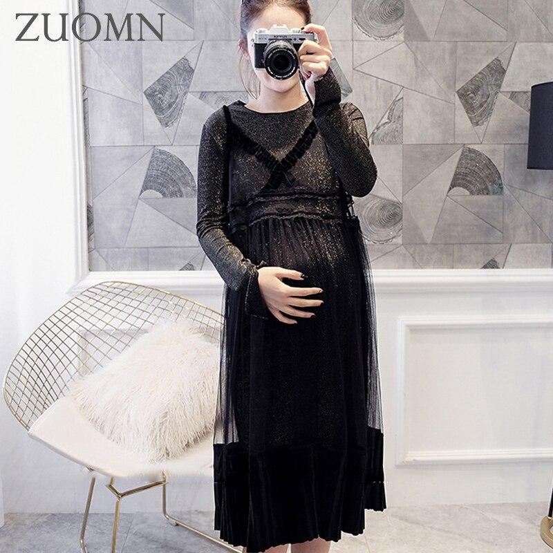 Maternity Korean Fashion Two-piece Bud Silk Dress Pregnant Women Budsilk Dress Maternity Organza Render Skirt Clothes YL458