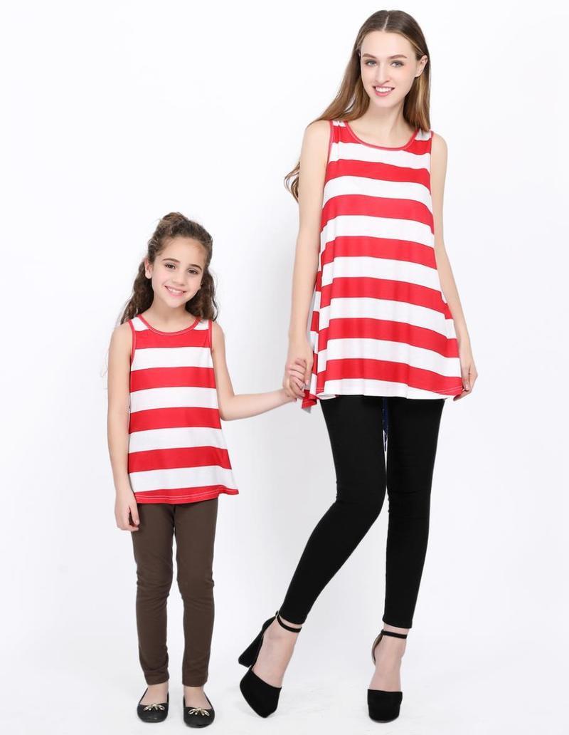 Для мамы и дочки футболка с круглым вырезом летнее платье Семья костюмы Мини футболка полосатый принт семейная Одежда для мамы и меня милый ...
