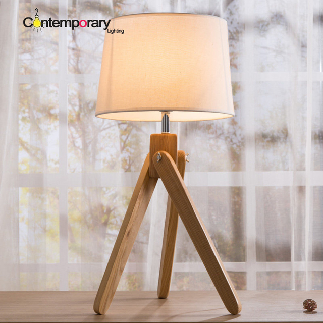 US $56.0 |a soft simple sensibility Modern home Contemporary Decor White  Traditional Wooden For Study kids Bedroom table desk lamp-in Table Lamps  from ...