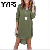 YYFS High Quality Autumn Dresses 2017 Fashion Women Casual Loose Plus Size Elegant Dress Long Sleeve