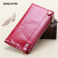 Nice New Fashion Genuine Leather Wallet Double Zipper Women Wallets Oil Wax Cowhide Wallet Long Design