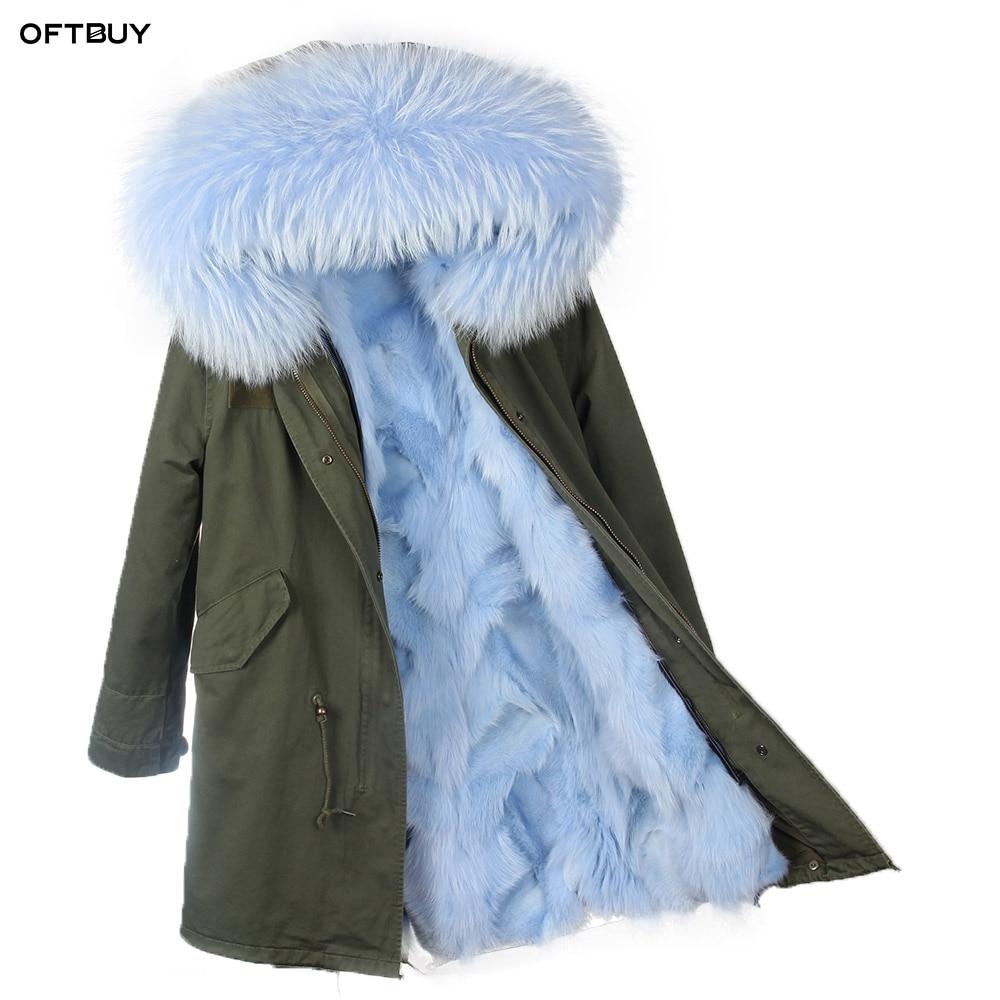 2019 Winter Jacket Women Real Fur Coat big Natural Raccoon Fur Collar Hooded fox Fur Liner