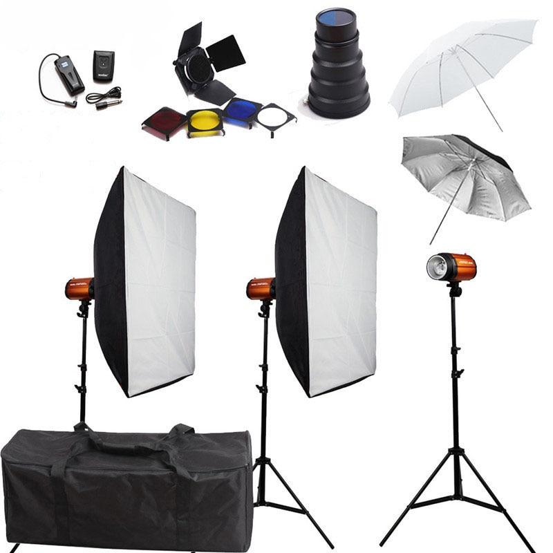 Photo Studio Softbox Flash Lighting Kits 750ws Godox Flash+Stand+Lightbox+Umbrella+Barndoor+Snoot+Sync Trigger and Receiver Set