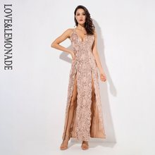 Love&Lemonade Gold Deep V-Neck Open Back Cut Out Flower Sequins Long Dress LM1292(China)