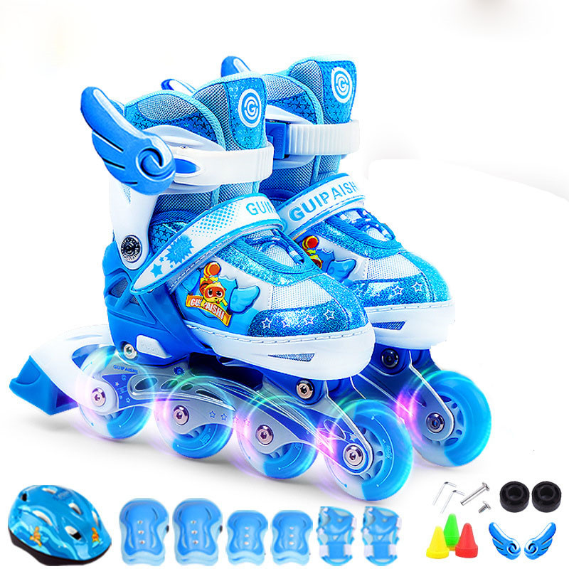 Children Flashing Roller Skate Shoes Protective Suit For Kids Inline Daily Street Brush Skating Adjustable PU Wheels Shoes IA86 16 pcs 85a 92a quality pu inline roller skates wheels 72 76 80mm high elasticity freestyle roller blade rodas fsk sliding ruedas